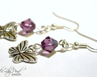 Little Silver Butterfly Earrings - Purple Swarovski Crystal