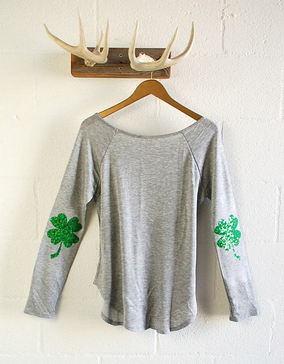 St Patricks Day Shirt Sequin Four Leaf Clover By Icaughtthesun
