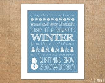 PRINTABLE Winter Subway Art Print-  8x10, Blue & White, Snowman, Christmas Tree, Snowflakes