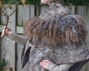 """Eco and Boho fashion felted Pluz Size cape from natural A-Grade merino lamb wool (with antique furniture) """"Modern"""" OOAK - to order only!"""