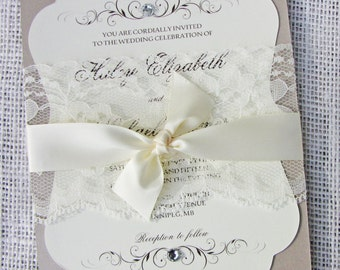 Elegant Classic Lace Wedding Invitation, Lace Wedding Invitation Vintage, DIY Wedding Invitation, printable Invite, or Fully Assembled