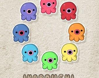 Octopus イカボウシ Stickers (Set of 8)