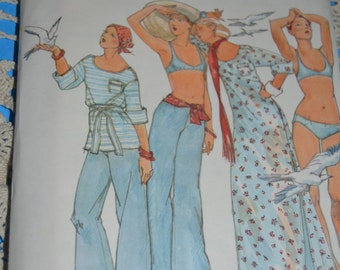 70s Butterick 4248 John Kloss Misses Cover Up Pants Bikini and Belt Sewing Pattern-UNCUT  Size 10 or Size 12  or Size 14