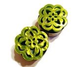 """Green Hydrangea Plugs Double Flare or Single Flare sizes 5/8"""" - 1 1/8 Inch (28mm)"""