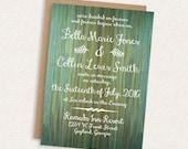 DIY Printable Wedding Invitation - Woodgrain Wedding Invitation - Shabby Chic - Rustic - The Bella