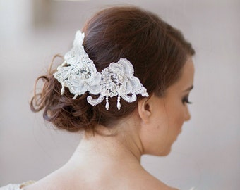 Bridal headpiece, Alencon Lace rhinestone headpiece, bridal pearls hair accessory, wedding head piece headpiece Style 236