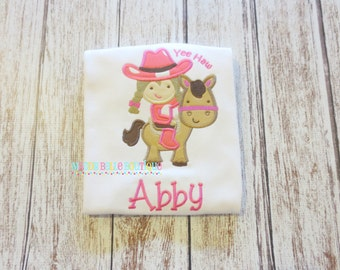 Cute Girls Cowgirl with Horse Embroidered Shirt - Embroidered Shirt, Girls Shirt, Toddler Shirt, Horse, Cowgirl, Girl Cowgirl Shirt, Yee Haw