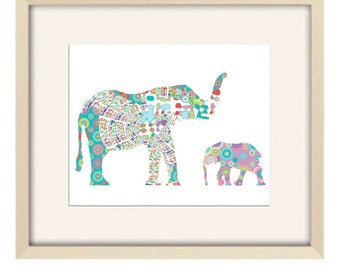 Baby girl nursery decor, elephant nursery art, nursery decor, elephant art, elephant decor, baby nursery art, kids wall art baby shower gift