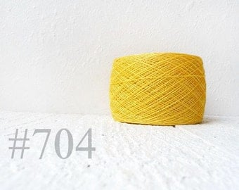 yellow linen crochet thread - yellow laceweight  linen yarn # 704
