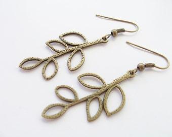 Brass/bronze metal leaf charm earrings - leaf jewelry - leaf earrings - leaves - leaf charms - leaf themed jewelry - brass leaf earrings