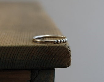 Sterling Silver Dotty Bead Detail Stacking Ring