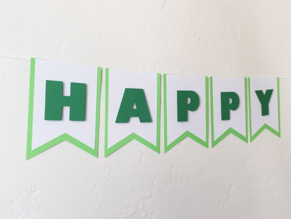 happy birthday banner green birthday banner by thepaperbowshop
