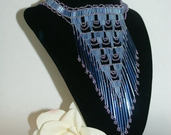 Elegant Low hanging Seed Bead Purple Necklace Native American Style    Free Shipping in US