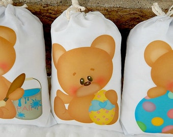 "Easter Favor Bags Coloring Eggs Teddy Bear's for gifts or treats can be Personalized  5"" X 7"" or  6"" X 8""  Qty 6"