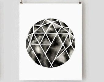 Large Print . Circle Art . Black White Sphere Watercolor Poster .  Modern Minimal Diamond . Simple Contemporary Wall Art . Geometric Print