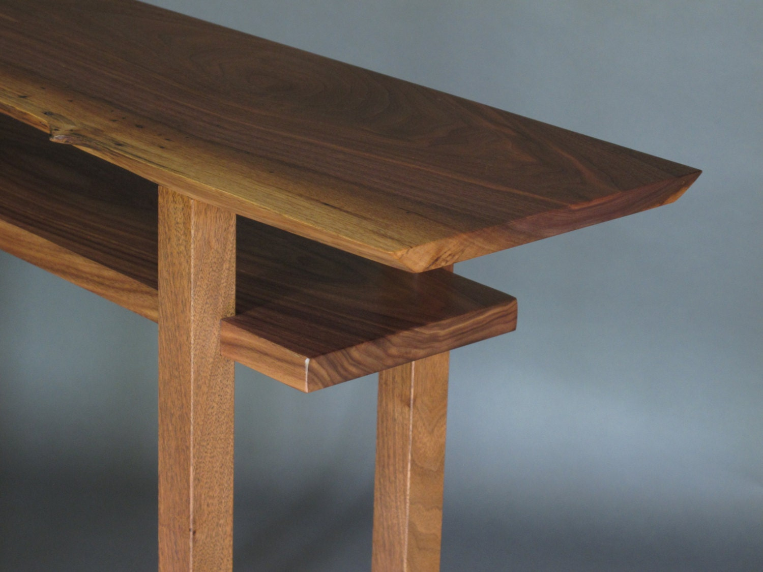 Live edge table narrow side table tall sofa table live edge for Tall slim side table