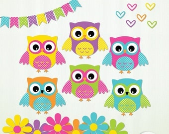 Owl ClipArt - 6 owls 6 hearts 6 flowers & bunting - Candy Store -  Scrapbooking Instant Download G7317