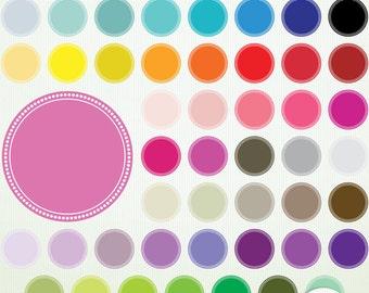 Digital Polka Dot Clip Art Frames Circles- 48 Seals - ClipArt Scrapbooking Commercial Instant Download & Printable G7517