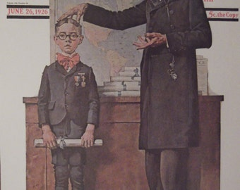 FIRST In HIS CLASS Norman Rockwell Reproduction Print Christmas Present Gift 1923 The Saturday Evening Post Bookplate Ready To Frame