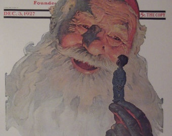 CHRISTMAS 1927 By Norman Rockwell Reproduction Print Santa Claus Christmas Present 1927 The Saturday Evening Post Bookplate Ready To Frame