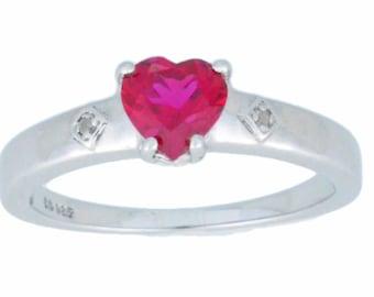 1 Ct Ruby & Diamond Heart Ring .925 Sterling Silver Rhodium Finish