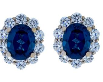 8 Carat London Blue Topaz Oval Stud Earrings .925 Sterling Silver Rhodium Finish