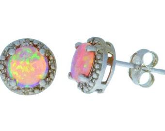Pink Opal & Diamond Round Stud Earrings .925 Sterling Silver Rhodium Finish