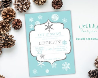 Winter Birthday Invitation, Snowflake Birthday Invitation, Snowflake Invite, Winter Invitation, DIY Printable