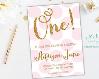 Polka Dot Birthday Invitation, Pink & Gold Birthday, Gold Glitter Birthday Invitation, First Birthday, Second Birthday, Third Birthday