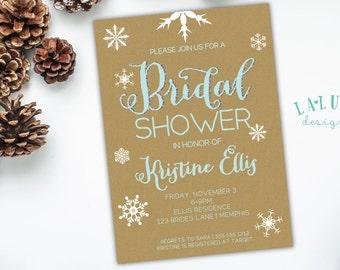 Winter Bridal Shower Invitation, Snowflake Invitation, Winter Shower Invite, Winter Invitation, DIY Printable