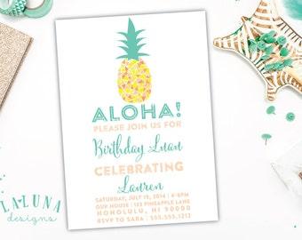 Hawaiian Luau Birthday Invitation, Luau Party, Pineapple Birthday Invitation, Hawaiian Luau Party, Retro Hawaiian Invitation, Luau Birthday