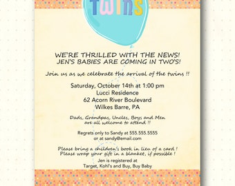 Twins Baby Shower Invitation, gender neutral, polka dots, twin boys, twin girls, boy and girl, sprinkle, digital, printable, invite, TS1437