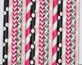 50 Paris Glam  Paper Straw Mix  PAPER STRAWS birthday party bridal shower event cake pop sticks Hot pink Black white pink