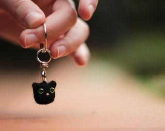 Cat Keychain, Cat Keyring, Felt Keychain, Felt Keyring, Felt Kitty, Black Cat Keychain, Cat Accessories, Cute Cat, Cute Keychain, Tiny Cat