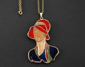 Art Deco pendant, Female necklace, Statement necklace, Unique design, Silhouette charm, Glass enamel, Metal clay jewelry, Woman in hat, Mod