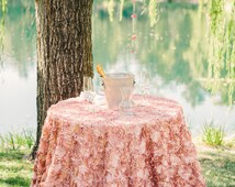Rosette Tablecloth Wedding Cake Table