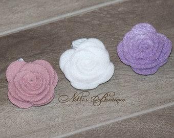 Set of 3 Felt Rose Hair Clips /Baby Hair Clip