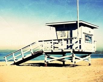 California Beach Photography, 11x14 print, Vintage, Blue, Lifeguard Stand, Ocean, Coast, Redondo Beach, Los Angeles, LA, SoCal, Surf, Gifts