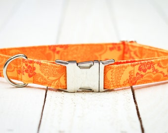 Female Dog Collar, Floral, Orange, Frilly, Pet Collar with Metal Buckle