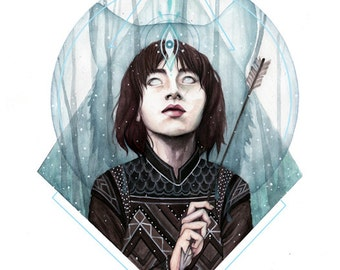 "11x17 print of original illustration, ""Bran Stark""."