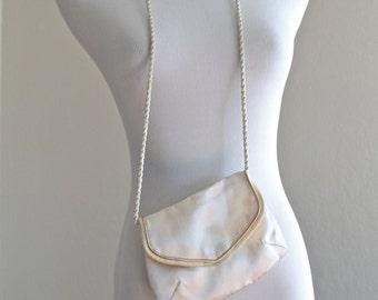 SALE 25% OFF: 1950's Ivory Satin Bridal Purse by Walborg