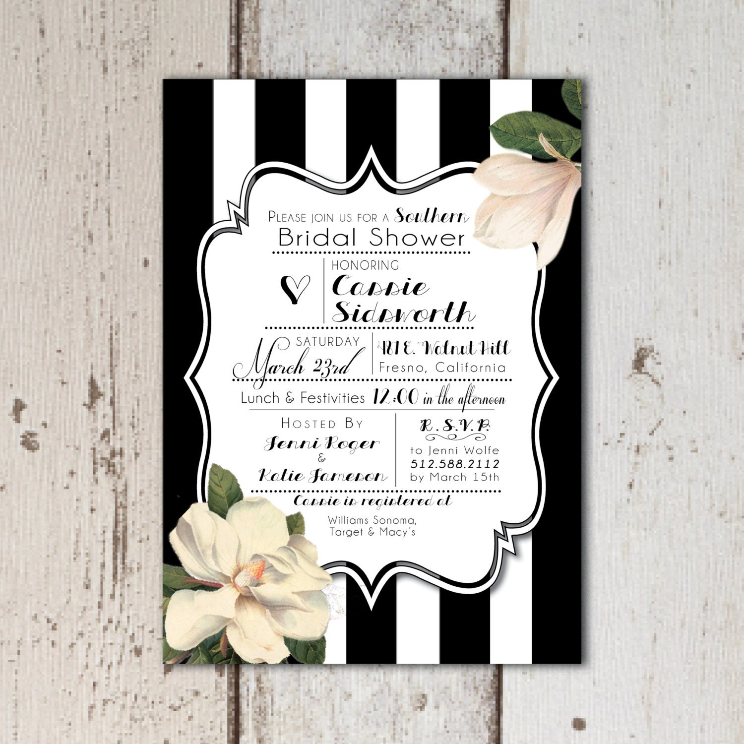 Vintage southern themed bridal shower invitations black for Themed bridal shower invitations