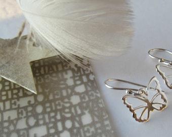 Sterling Silver Butterfly Earrings, Silver Butterly Earrings, Butterfly Jewelry, Dangle Earrings, Minimalist Everyday Earrings