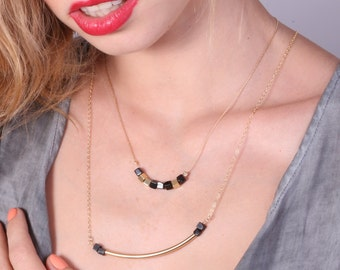 Gold Layered Necklace, Long Bar Necklace, Bar Necklace, Onyx necklace, Statement necklace, Layered Necklace - 20083/2