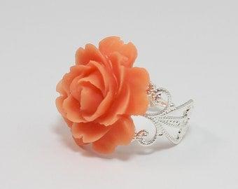 Coral Rose Flower Ring, Coral Flower Ring, Silver Filigree Adjustable Flower Ring, Mum Flower, Vintage Inspired, Christmas Gift