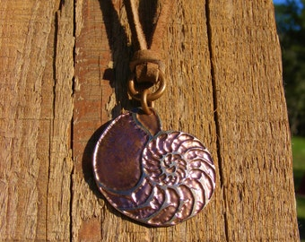 Nautilus Necklace. Acid Etched Coin Pendant made from a U.S. Quarter. Geometric Nautilus