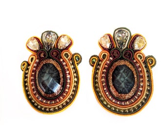 FALLIN' 2 soutache earrings in green, brown and orange with Free Shipping