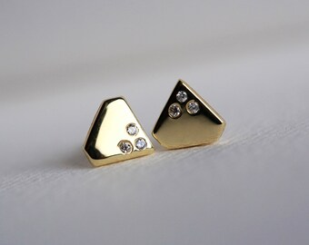 Gold Diamond Earrings, Diamond Shape Earrings, Tiny Diamond Earrings, Solid Gold Studs