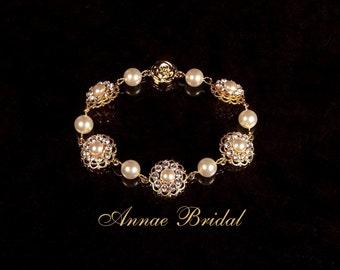 "Bridal jewelry, wedding, white pearl and crystal rhinestone bracelet, Swarovski, gold ""Pearls & Lace"" bracelet"