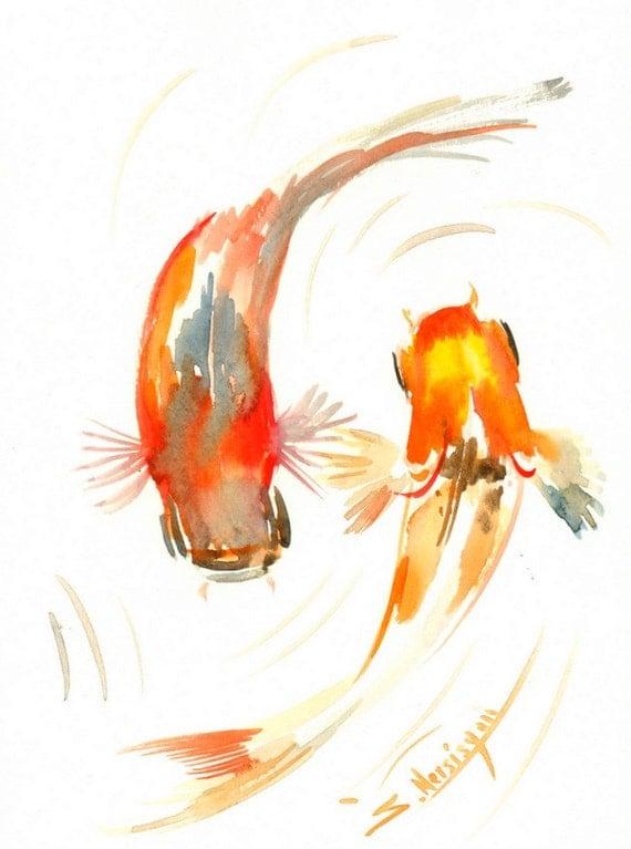 Due koi pesci rossi acquerello originale dipinto 12 x 9 in for Vendita pesci rossi on line